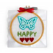 Happy Butterfly Embroidery Hoop