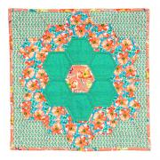 Poppies in Grandmother's Flower Garden Quilt