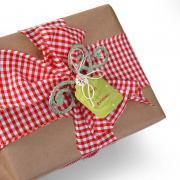 Glittered Poinsettia Swirls Gift Topper