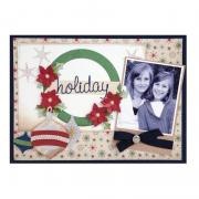 Holiday Wreath & Ornaments Scrapbook Page