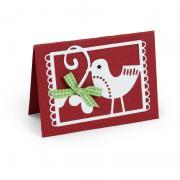 Festive Christmas Bird with Branch Card