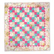 Pink & Turquoise Four-Patch Quilt