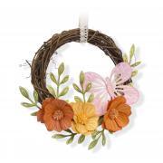 Embossed Flowers & Butterfly Wreath
