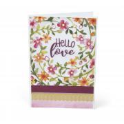Hello Love Floral Wreath Card
