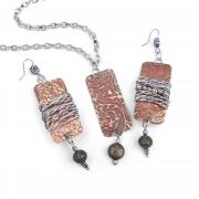 Embossed & Wrapped Necklace & Earrings