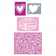 Sizzix Textured Impressions Embossing Folders 4PK - Valentine Set #2