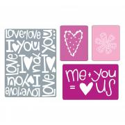 Sizzix Textured Impressions Embossing Folders 4PK - Love Set #2