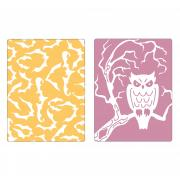 Sizzix Textured Impressions Embossing Folders 2PK - Bats & Owl Set