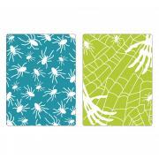 Sizzix Textured Impressions Embossing Folders 2PK - Spiders & Spiderweb Set