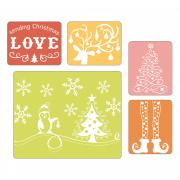 Sizzix Textured Impressions Embossing Folders 5PK - Sending Christmas Love Set
