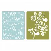 Sizzix Textured Impressions Embossing Folders 2PK - Pear & Vines Set