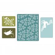 Sizzix Textured Impressions Embossing Folders 4PK - Birds & Reindeer Set
