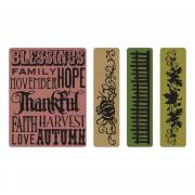 Sizzix Texture Fades Embossing Folders 4PK - Thankful Background & Borders Set