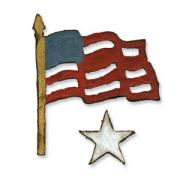 Sizzix Movers & Shapers Magnetic Die Set 2PK - Mini Old Glory Set by Tim Holtz