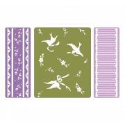 Sizzix Textured Impressions Embossing Folders 3PK - Birds & Lace Set
