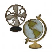 Sizzix Movers & Shapers Magnetic Die Set 2PK - Vintage Fan & Globe Set by Tim Holtz