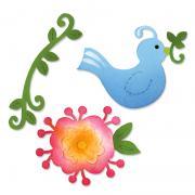 Sizzix Sizzlits Die Set 3PK - Bird & Flower Vine Set
