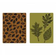 Sizzix Texture Fades Embossing Folders 2PK - Textured Leaves Set