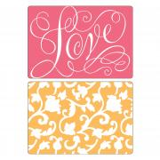 Sizzix Textured Impressions Embossing Folders 2PK - Love & Swirling Vines Set