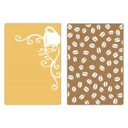 Sizzix Textured Impressions Embossing Folders 2PK - Coffee Set