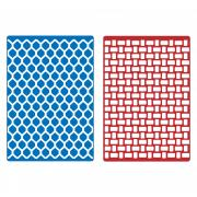 Sizzix Textured Impressions Embossing Folders 2PK - Basket Weave & Honeycomb Set
