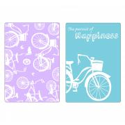 Sizzix Textured Impressions Embossing Folders 2PK - Bicycles Set