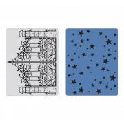 Sizzix Texture Fades Embossing Folders 2PK - Iron Gate & Starry Night Set