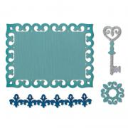 Sizzix Thinlits Die Set 4PK - Border, Label, Medallion & Key