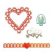 Sizzix Thinlits Die Set 4PK - Love Birds & Hearts