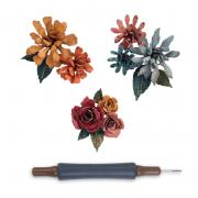 Sizzix Thinlits Die Set 15PK w/Quilling Tool - Tiny Tattered Florals by Tim Holtz