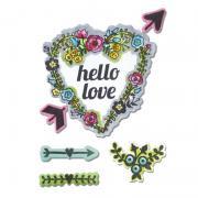 Sizzix Framelits Die Set 7PK w/Stamps - Hello Love