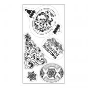 Sizzix Interchangeable Clear Stamps - Christmas Greetings, Ornament & Tree