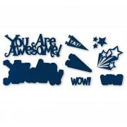 Sizzix Thinlits Die Set 8PK - You Are Awesome 3-D Drop-ins Sentiment