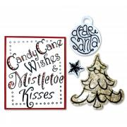Sizzix Framelits Die Set 6PK w/Stamps - Candy Cane Wishes