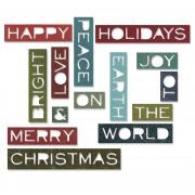 Sizzix Thinlits Die Set 14PK - Holiday Words 2: Thin
