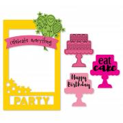 Sizzix Framelits Die Set 9PK w/Stamps - Photo Frame, Celebrate