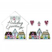 Sizzix Framelits Die Set 4PK w/Stamps - Warm Holiday Greetings
