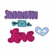 Sizzix Framelits Die Set 3PK w/Stamps - Sending You Love
