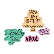 Sizzix Framelits Die Set 4PK w/Stamps - Simple Sentiments