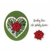 Sizzix Framelits Die Set 5PK w/Stamps - Poinsettia Wreath