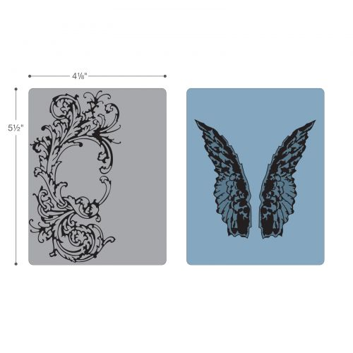 Sizzix Texture Fades A2 Embossing Folders 2//Pkg-Flourish /& Wings By Tim Holtz