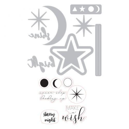 Sizzix Framelits Die /& Stamp Set By Sophie Guilar 9//Pkg-Make A Wish
