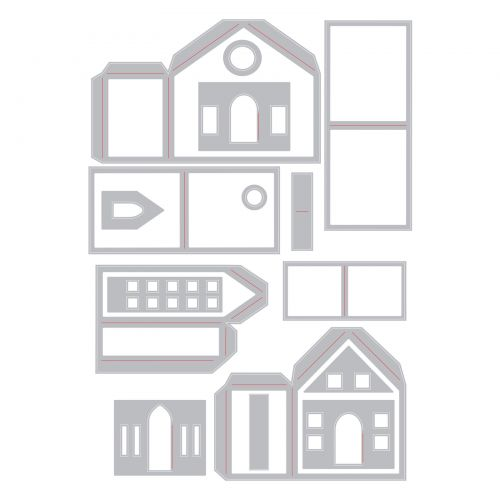 Sizzix Thinlits Die Set 16PK - Paper Village by Tim Holtz