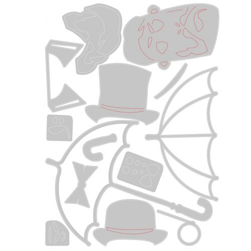 Sizzix Thinlits Die 665202 The Gent by Tim Holtz 14 Pack
