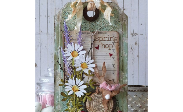 Spring Hop Home Decor Tag using Tim Holtz® designs! - by Emma Williams