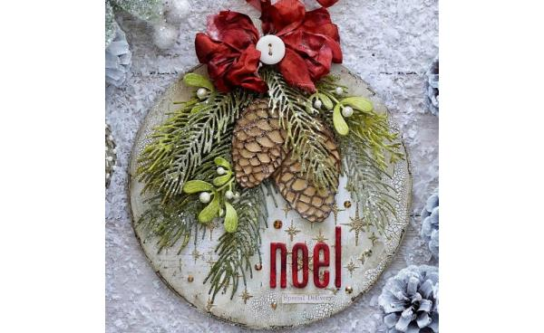 Christmas bauble home decor project using Tim Holtz designs - by Emma Williams